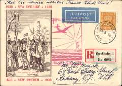 "(Sweden) Sweden acceptance for the Marseilles to New York leg of the Pan Am F/F FAM 18 Southern Atlantic Route, Stockholm to New Jersey, USA, bs New York 29/5, via Marseilles 24/5 transit cds, attractive ""1638 * NYA Sverige* 1938"" PPC franked 1K, fine strike red flight cachet, par avion etiquette."