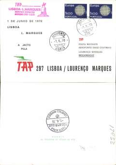 (Portugal) TAP first direct B707 Lisbon to Lourenco Marques, b/s, cachet, souvenir cover.