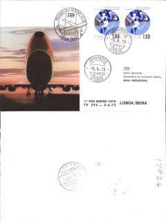 (Portugal) TAP first B747B Lisbon to Beira, b/s, cachet, souvenir cover.