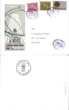 (Portugal) TAP F/F Lisbon to New York, b/s, cachet, souvenir cover.
