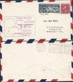 (Puerto Rico) Pan Am F/F FAM 6, San Juan to Miami, bs 10/10, large magenta flight cachet, airmail cover.