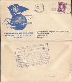 (Ireland) F/F FAM 24, Shannon-London, verso blue rectangular hs certifying service rendered, arrival date and name of plane, blue specially printed company cover, American Overseas Airlines,