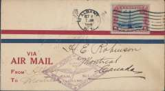 (United States) Colonial Airways, F/F FAM 1, Albany to Montreal, violet diamond cachet, b/s.