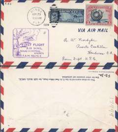 (United States) Pan American Airways, F/F FAM 5  Miami-Belize, bs British Honduras, violet boxed flight cachet 'First Flight/Mami * Central America/FAM Route 5'  cachet, airmail cover.