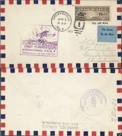 (United States) F/F FAM 6, Brownsville to San Salvador, cachet, b/s, Pan Am