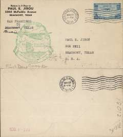 (United States) Pan Am F/F FAM 14, San Francisco to Honolulu, cachet, b/s, air cover franked 25c.