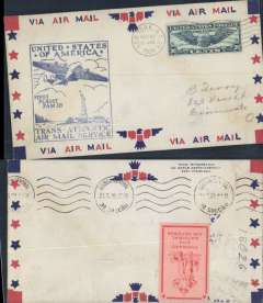 """(United States) Pan Am F/F FAM18 Southern North Atlantic route, New York-Lisbon, bs 22/5, official cachet, attractive airmail cover, red/orange """"Forward with National Defence"""" vignette verso."""