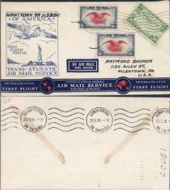 (United States) Pan Am F/F FAM18 Southern North Atlantic route, New York-Lisbon, bs 22/5, official cachet, attractive airmail cover.