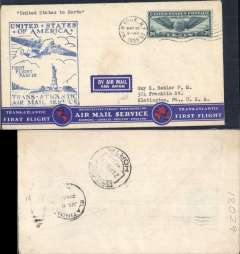 (United States) Pan Am F/F FAM18 Southern North Atlantic route, New York to Horta, Azores, bs 21/5, official cachet, attractive airmail cover.