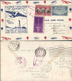 (United States) Pan Am F/F FAM18 Southern North Atlantic route, New York to Marseilles, bs 22/5, official cachet, attractive airmail cover.
