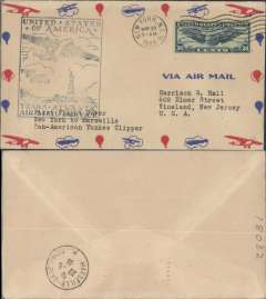 (United States) Pan Am F/F FAM18 Southern North Atlantic route, New York to Marseiiles, bs 22/5, official cachet, attractive airmail cover.