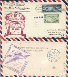 (United States) Pan Am FAM 18 F/F New York-Foynes, b/s, official magenta cachet on front, Foynes purple arrival cachet verso, airmail cover