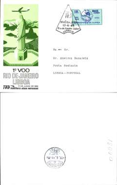 (Brazil) TAP F/F accelerated service Rio de Janeiro to Lisbon, bs 19/6, franked 120cz, black triangular flight cachet, souvenir cover.