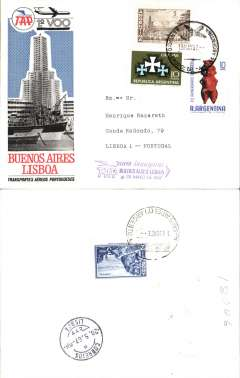 (Argentina) TAP F/F Buenos Aires to Lisbon, bs 20/5, franked 18P, violet three line flight cachet, multicoloured souvenir cover.