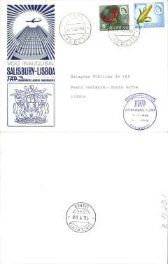 (Rhodesia) TAP F/F Salisbury to Lisbon, bs 16/1, franked 1/6d, special crested blue flight cachet, blue/white souvenir cover.