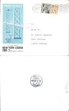 (United States) TAP F/F New York to Lisbon, bs 22/6, franked 15c, special crested blue flight cachet, blue/black/white souvenir cover.