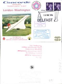 (Concorde) Belfast acceptance for carriage on the inaugural transatlantic flight London to Washington, bs 24/5, illustrated souvenir cover franked 11p, canc special Belfast 20 May 1976 departure postmark, violet framed 'Belfast-London'  and blue framed 'London-Washington' flight cachets.