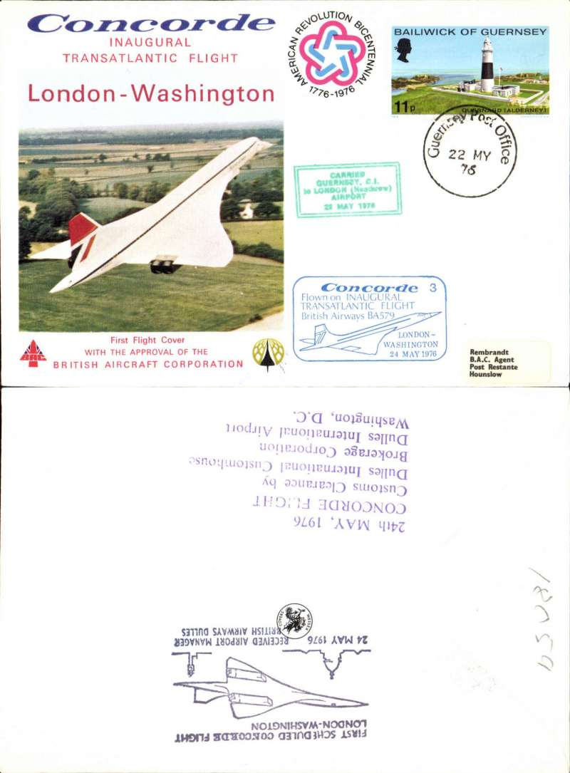 (Concorde) Guernsey acceptance for carriage on the inaugural transatlantic flight London to Washington, bs 24/5, illustrated souvenir cover franked Guernsey 11p, canc Guernsey 22 MY 76 cds, green framed 'Guernsey-London'  and blue framed 'London-Washington' flight cachets.
