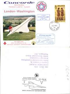 (Concorde) Isle of Man acceptance for carriage on the inaugural transatlantic flight London to Washington, bs 24/5, illustrated souvenir cover franked Isle of Man 13p, canc Isle of Man 22 MY 76 cds, blue framed 'Douglas, Isle of Man-London'  and blue framed 'London-Washington' flight cachets.