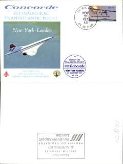(Concorde) F/F Concorde, New York-London, bs 23/11, illustrated souvenir cover franked USA 13c air, postmarked 'AMF/Nov 23 1977/JFK NY' cds, circular blue 'New York-London' flight cachet.