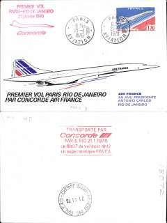 (Concorde) F/F Concorde, Paris to Rio de Janeiro, bs 21/6, illustrated souvenir cover franked France 1.70F Concorde, postmarked 'Paris Aviation 21-1-76' cds, red four line flight cachet.