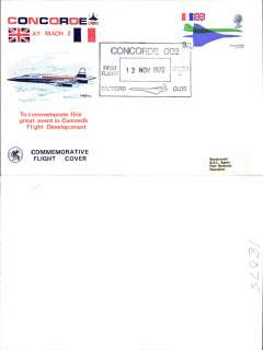 (Concorde) Concorde 002 F/F at Mach 2, at Fairford, Gloucester, illustrated souvenir cover, franked QEII 9d canc special black boxed commemorative cachet.