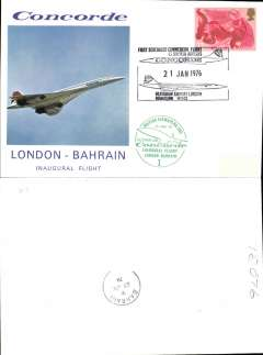 (Concorde) F/F Concorde, London to Bahrain, bs 21/6, illustrated souvenir cover franked GB 11p, special 'London Heathrow Airport/21 Jan 1976' Concorde postmark, circular green flight cachet.