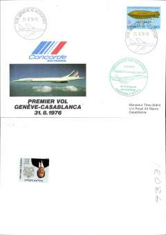 (Concorde) F/F Concorde, Geneva to Casablanca, bs 31/8, illustrated souvenir cover franked Switzerland 90c, Geneva Airport postmark, circular green flight cachet.