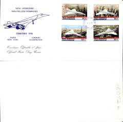 (Concorde) Concorde FDC franked 1968 FDI French New Caledonia set of 4, blue/cream souvenir cover.