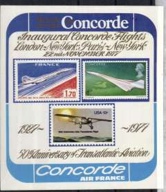 (Concorde) 50th anniversary of transatlantic Aviation, multicoloured and gold commemorative mint label, 10x11cm, showing a British Airways Concorde on a GB QE 4d stamp, an Air France Concorde on a France 1.70F stamp, and the Spirit of St Louis on a US 13c stamp.