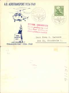 (Helicopter) Sweden special helicopter postal flight, Bromma to Linderangen-Stockholm, blue cream souvenir card franked 10o, commemorating 'A.B.Transport 1924-1949' and 'Finlandsflyget 1924-1949', fine strike red 4 line flight cachet.