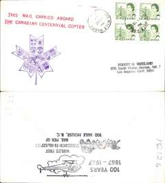 "(Helicopter) Canadian Centennial 'Copter' Project, special cover with printed ""This Mail Carried Aboard/The Canadian Centennial Copter"", franked 8c canc 100 Mile House, BC cds, purple maple leaf flight cachet and verso two black hs's '100 Years/1867-1967' and 'Four Horse Stage Coach'."