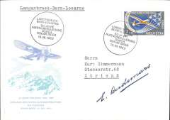 (Switzerland) Special Pro-Aereo flight Langenbruck-Berne-Locarno, bs 13/7, to commemorate 50th anniversary of Oscar Bider's 1st Alpine Flight, souvenir cover, franked 2F canc special dated flight cachet. Signed by the Swiss pilot Edmond Audemars (1882-1970) who participated in the New-York Belmont park meeting in October 1910, and flew over several US including some flights over Mexico and Cuba. He was the close friend of Roland Garros and stopped to flying when Garros died in 1918.