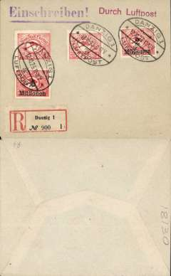 (Danzig) Early air FDC, unaddressed registered (label) plain cover franked 1923 Post Horn and Airplane 250,000m, 500,000m, and 2mil on 100,000m and 5mil on 50,000m surcharges (C22-25), canc'Danzig/12.10.23/Luftpost' oval ds, red 'Durch Luftpost' and violet 'Einschreiben' hs's.