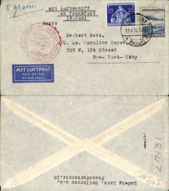 "(Airship) Third North America Flight, Frankfurt to New York, no arrival ds, imprint airmail etiquette cover franked 75pf, ms '5 gm', canc Heilbronn/17.6.36 cds, red double ring 'Europa-NordAmerika cachet, typed ""mit Luftschiff/ab Frankfurt/19.Juni""."