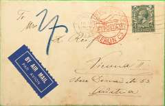 (GB External) Imperial Airways, London to Austria, bs Vienna 24/6, via Berlin 23/7, plain cover correctly rated 4d, canc London cds, red circular 'Luftpost Befordert/ Berlin C2' reciever on front, white/dark blue etiquette.