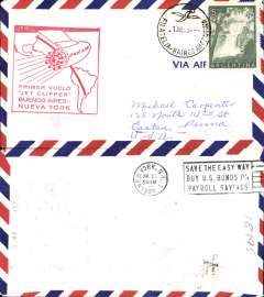 (Argentina) F/F Jet Clipper, Buenos Aires to New York, red cachet, b/s