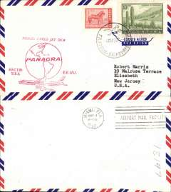 (Argentina) Panagra DC8 F/F Buenos Aires to Miami, red cachet, b/s, airmail cover.