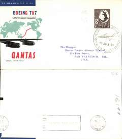 (Australia) F/F  Sydney to San Francisco, cachet ds, b/s, official cover, Qantas