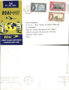 (Bahamas) F/F, Nassau to Lima, official cover, b/s, BOAC