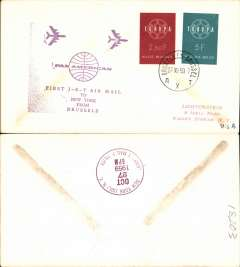 (Belgium) First jet Brussels to New York, b/s, cachet, illustrated souvenir cover, Pan Am.