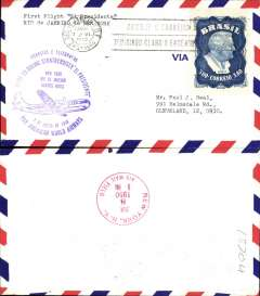 (Brazil) F/F Rio de Janeiro to New York, purple cachet, El Presidente Stratocruiser, b/s, airmail cover, Pan Am
