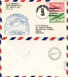 (Canton Island) F/F, FAM 19  Trans- Pacific Route, Canton Island to Sydney, cachet, b/s, airmail cover, Pan Am