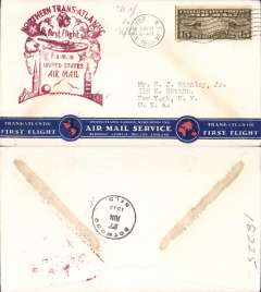 (United States) F/F FAM 18, Northern North Atlantic route, New York-Botwood, b/s, red cachet. Red/white/blue 'Clipper' flying boat souvenir cover.