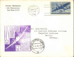 (United States) F/F FAM 24, New York to Berlin, cachet, b/s, also US Civil Censor hs verso, American Overseas Airlines.