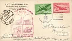 (United States) F/F FAM 27, to Bombay from Washington, cachet, Bombay arrival ds on front, plain cover,  TWA.