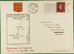 (Channel Is) F/F Guernsey to England, no arrival ds, franked 1 11/2d, illustrated printed Martin cover, Guernsey AW. Faint tone spots, see scan.