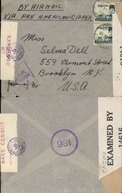 "(Egypt) WWII dual censored airmail, Egypt to New York, grey cover franked 50ml x2, ms ""By Airmail/Via Pan American Clipper"", sealed red/cream 'Examined By Base Censor' censor tape tied by Egypt purple circular 'Deputy Field Censor' with crown censor mark, and US black/white EB 14616 (Miami) censor tape. BOAC to Lisbon, then Pan Am FAM 18 to Miami via Bermuda."