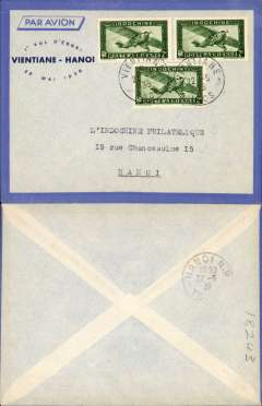 "(French Indochina) Air France F/F Vientiane to Hanoi, bs 22/5, blue/grey souvenir with printed ""1st Vol D'Essai/Vientiane'22 Mai 1939"" franked 2c air x3."