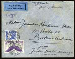 """(Switzerland) Switzerland1936, Jun 27Imperial Airways, Switzerland to Java, bs Batavia 6/7/36, grey airmail cover franked 1F air and 30c ordinary, canc Neuchatel/Gare cds, ms """"Chiasso 2/Londres-Brindisi"""" and """"10gr"""", black/blue trilingual airmail etiquette. Train from Neuchatel to Brindisi, the OAT to destination. The border post of Chiasso is on the frontier between Switzerland and Italy, 100 south of Neuchatel. Uncommon origin/destination. Minimal rough opening top edge.£25.00"""